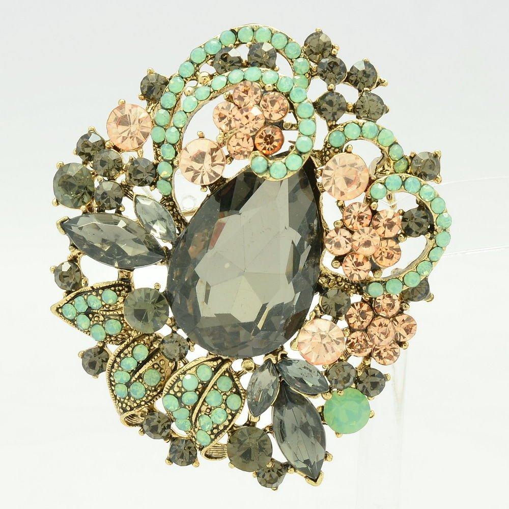 Gray Rhinestone Crystals Vintage Leaf Flower Brooches Pin Women Jewelry 6173