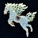 Hi-Q Animal Blue Horse Pegasus Brooch Broach Pins Swarovski Crystals SBA4512