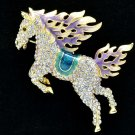 Hi-Q Animal Purple Horse Pegasus Brooch Broach Pins Swarovski Crystals SBA4512