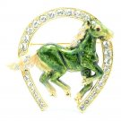 Excellent Swarovski Crystals Green Enamel Horseshoe Horse Brooch Broach Pin