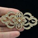 Beautiful Gold Flower Brooch Broach Pins Rhinestone Crystal Women Jewelry XBY123