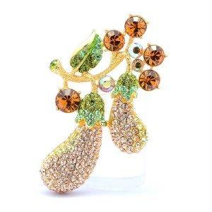 "Swarovski Crystals H-Quality Brown Eggplant Flower Leaf Brooch Pin 2.7"""