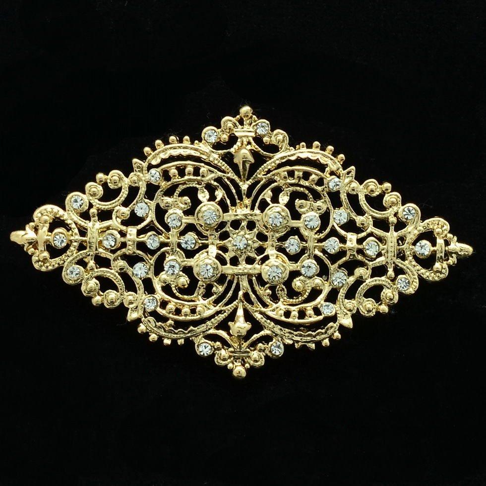 Golden Rhombus Palace Flower Brooch Pins Rhinestone Crystal Women Jewelry XBY106