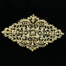 Golden Rhombus Palace Flower Brooch Pins Rhinestone Crystal Women Jewelry XBY106