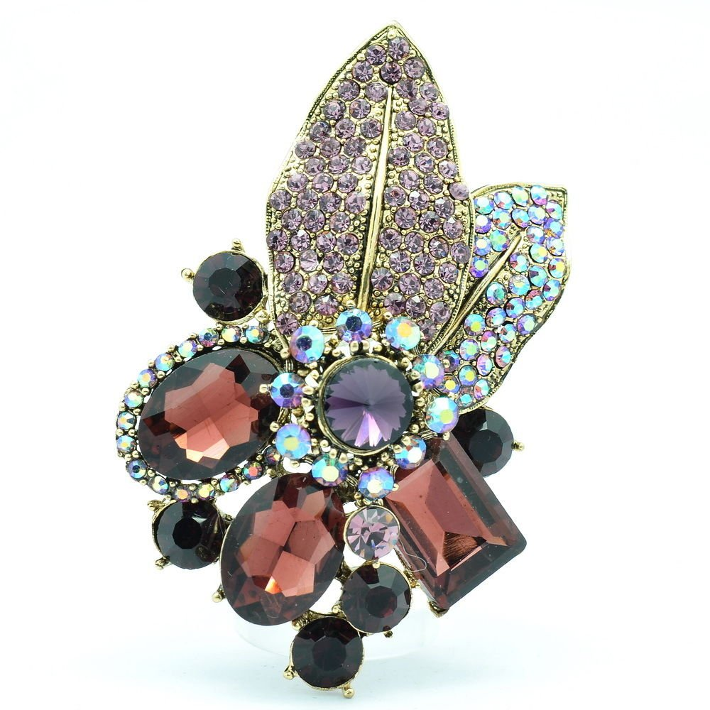 Gorgeous Leaf Floral Pendant Brooch Pin W/ Purple Oval Rhinestone Crystals 6416