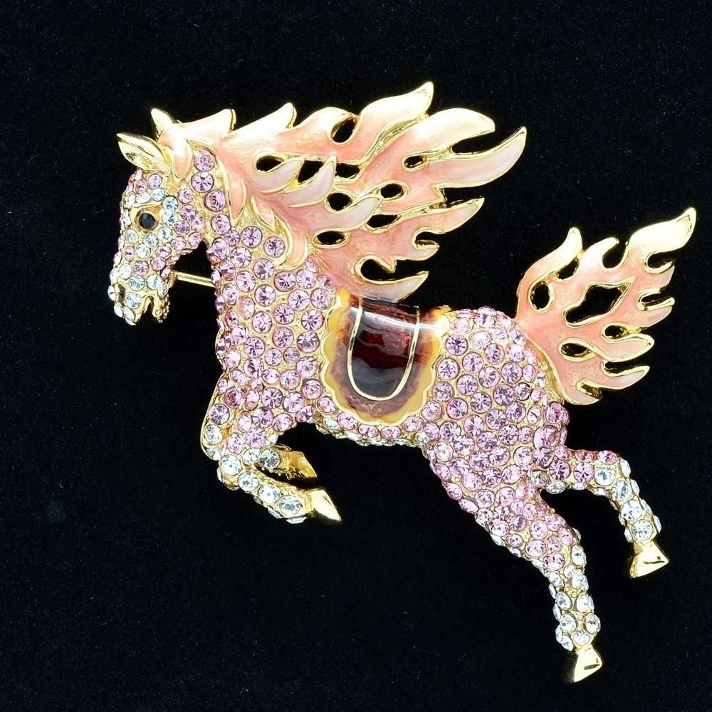 Hi-Q Animal Pink Horse Pegasus Brooch Broach Pins Swarovski Crystals SBA4512