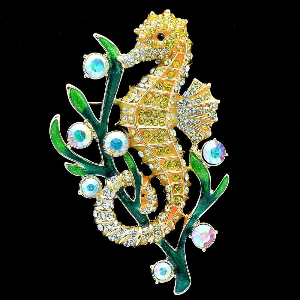 Yellow Rhinestone Crystals Sea Horse Seahorse Brooch Broach Pin Jewelry FA3186