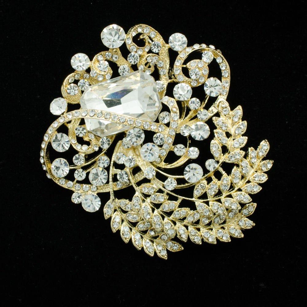 Chic Flowers Leaves Costume Brooch Pin Rhinestone Crystal Women Accessories 4886