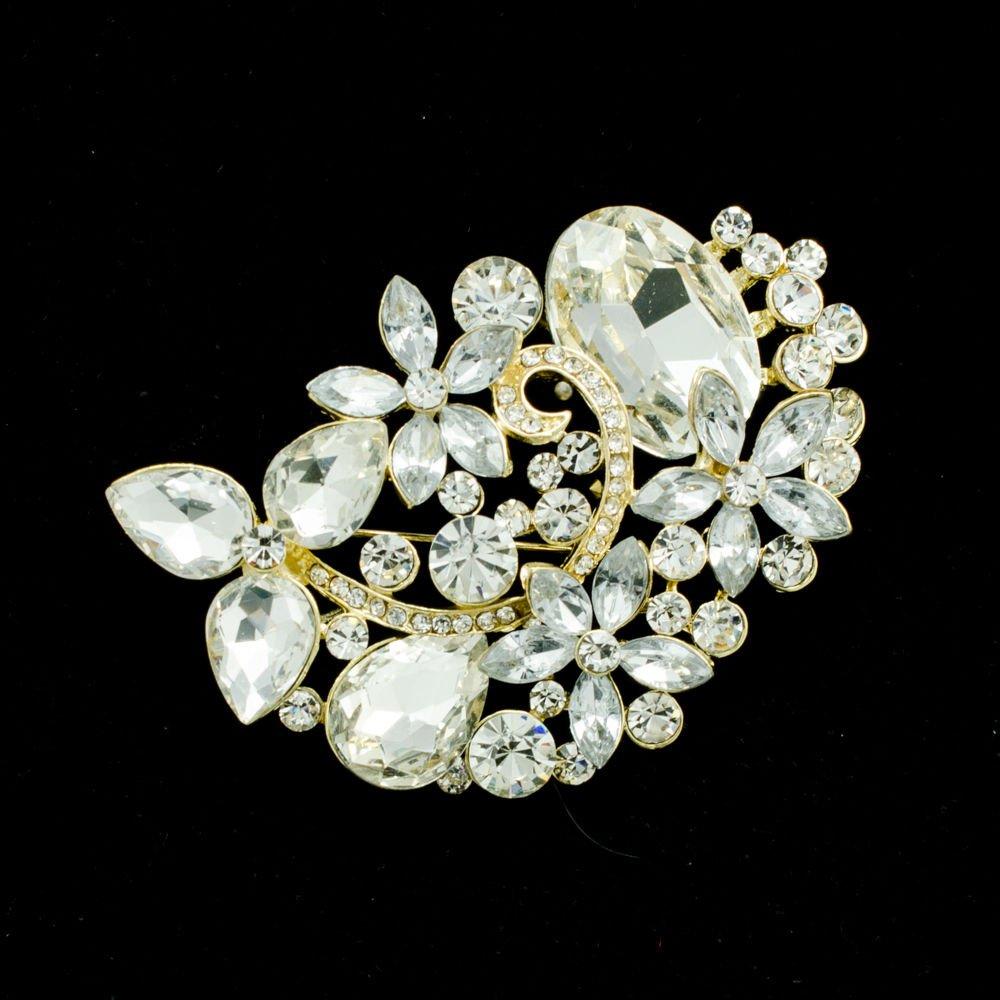 Simple Flower Leaves Brooch Broach Pin Rhinestone Crystal For Women Jewelry 6013