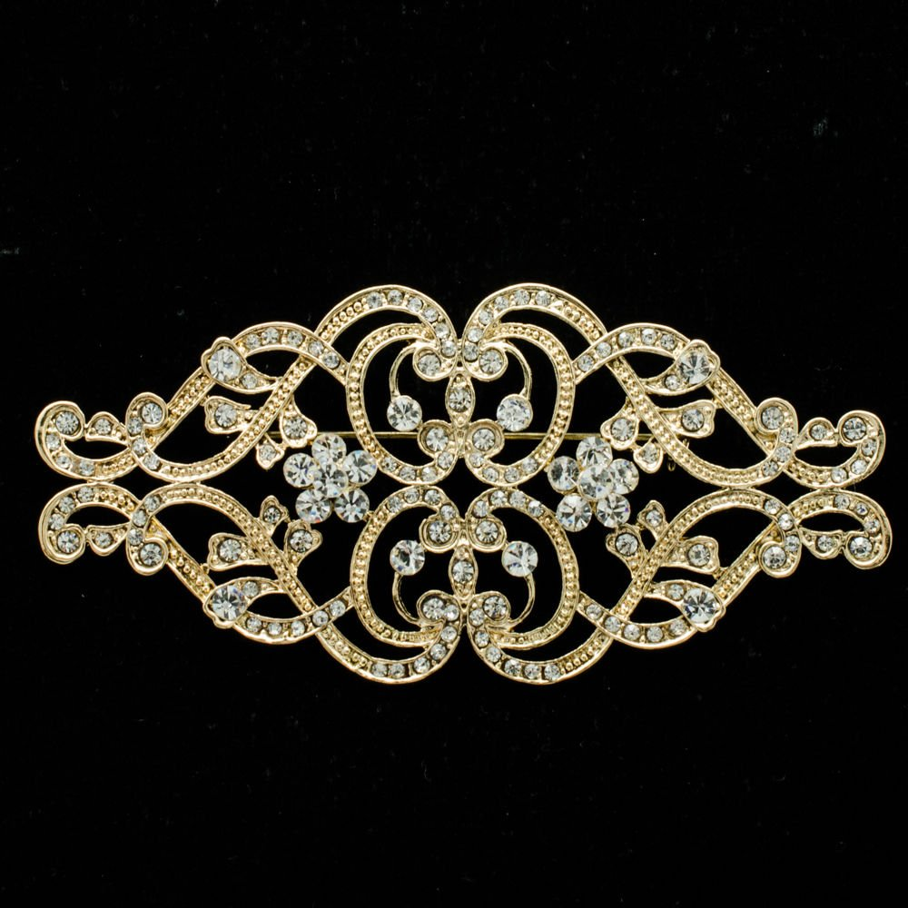 VTG Style Heart Flower Brooch Pin Rhinestone Crystal Women Party Jewelry XBY068
