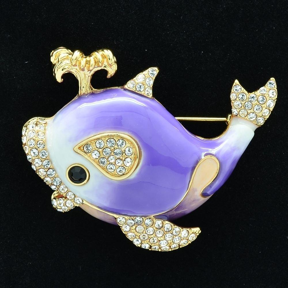 Fabulous Swarovski Crystals Purple Whale Brooch Broach Pins Enamel SBA4523