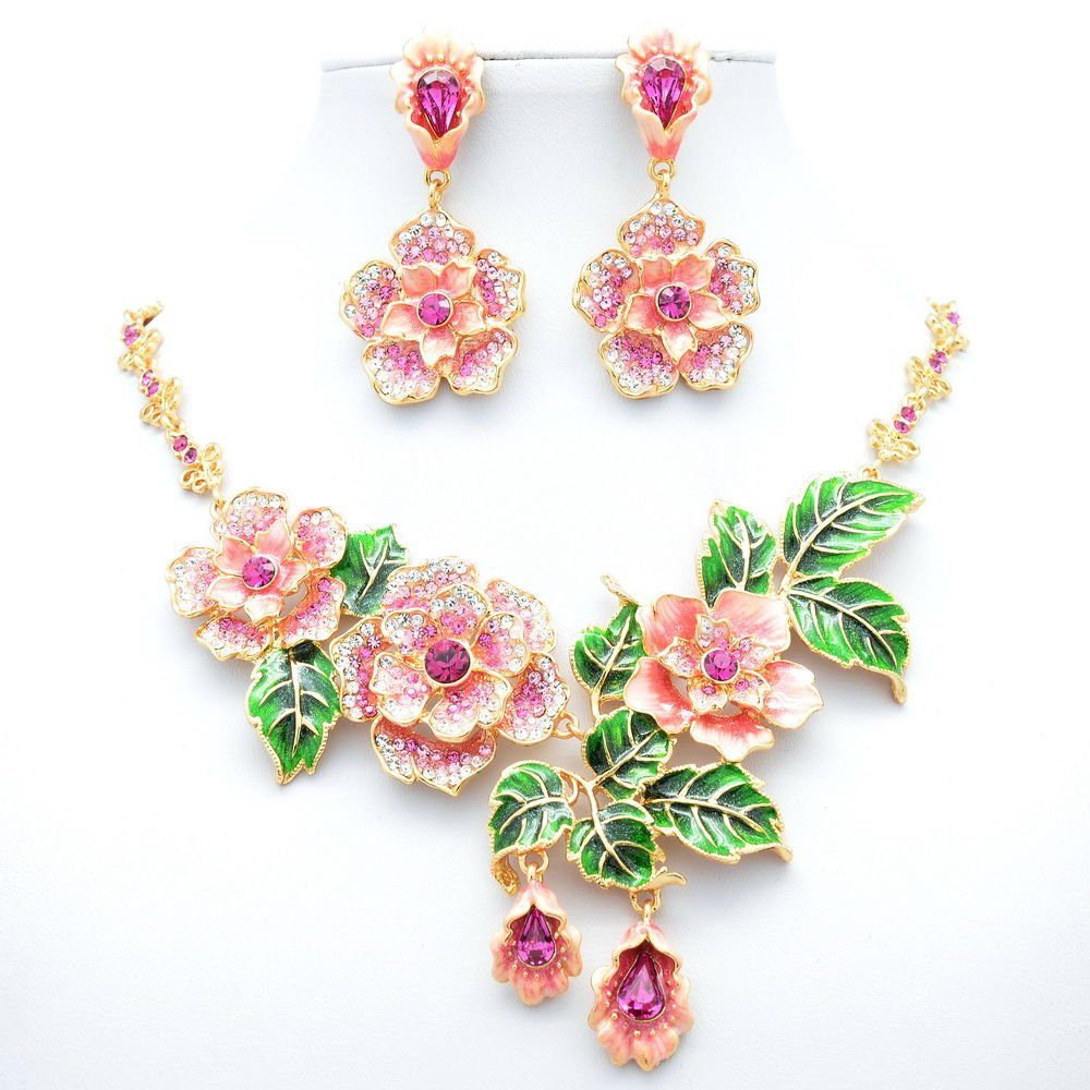 Swarovski Crystals Pink Enamel Rose Flower Necklace Earring Jewelry Sets JNA1849