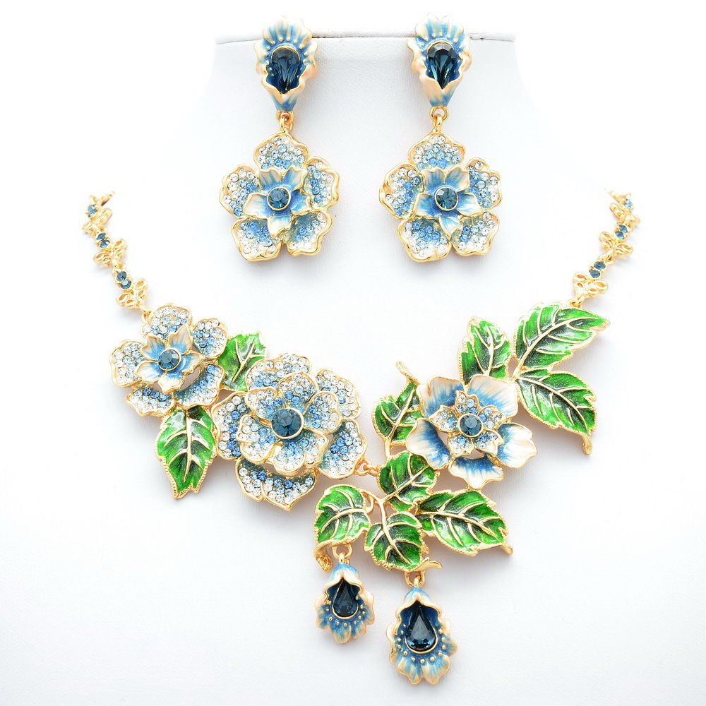 Swarovski Crystal Blue Enamel Rose Flower Necklace Earring Jewelry Set JNA1849