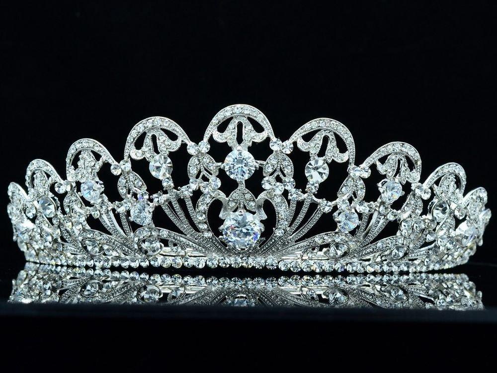 Clear Swarovski Crystal Zircon Wedding Bridal Flower Tiara Crown Headband 249RJK