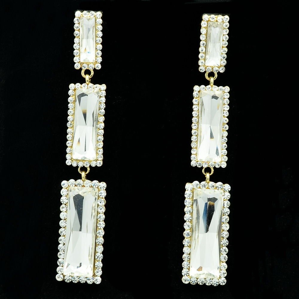 New Design Clear Oblong Dangle Earrings Rhinestone Crystals Art Deco 141232
