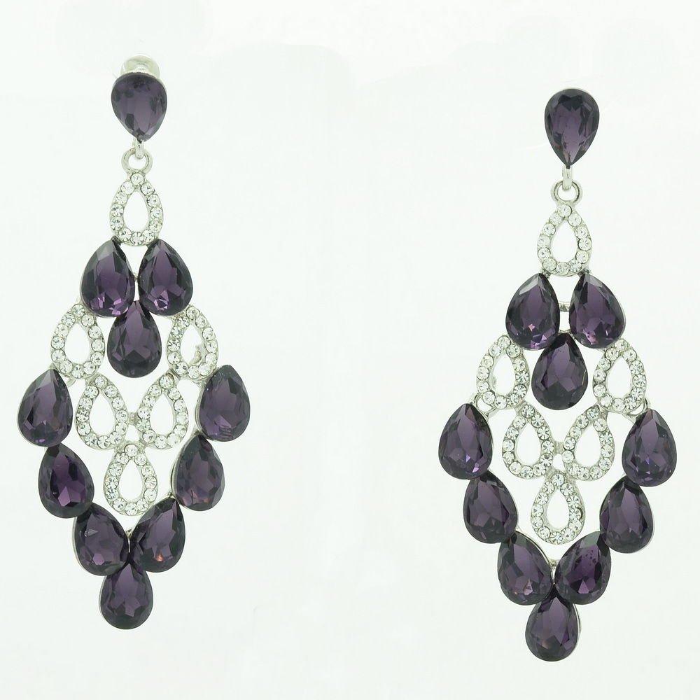 Women Luxury Purple Water Drop Pierced Dangle Earring Rhinestone Crystal 123638