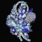 """Retro Drop Blue Bouquet Flower Brooch Pin 3.5""""  Rhinestone Crystals 4622"""
