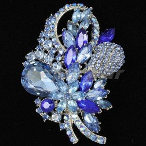 "Retro Drop Blue Bouquet Flower Brooch Pin 3.5""  Rhinestone Crystals 4622"