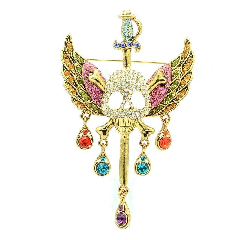 "Cool Goth Style Swarovski Crystal Multicolor Sword Wing Skull Brooch Pin 3.5"""