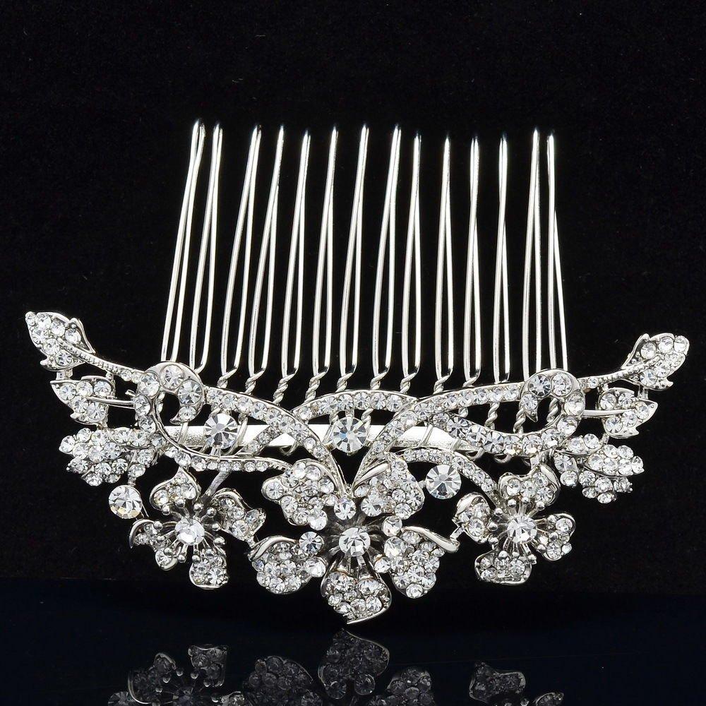 Silver Tone Bridal Clear Flower Hair Comb Wedding W/ Rhinestone Crystal 02255R