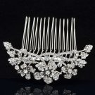 Silver Tone Bridal Clear Flower Hair Comb Wedding W/ Rhinestone Crystal 02255R