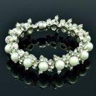 Faux Pearl Flower Wedding Bracelet Bangle Bridal Jewelry Rhinestone Crystal 8819
