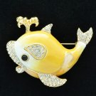 Fabulous Swarovski Crystals Yellow Whale Brooch Broach Pins Enamel SBA4523