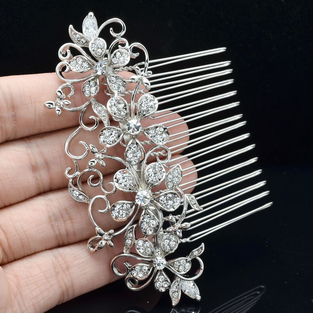 Rhinestone Crystals Clear Flower Hair Comb for Wedding Bridal Prom Party 202250