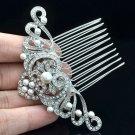 New Bridal Prom Jewelry Imitated Pearl Clear Hair Comb Rhinestone Crystal 214144