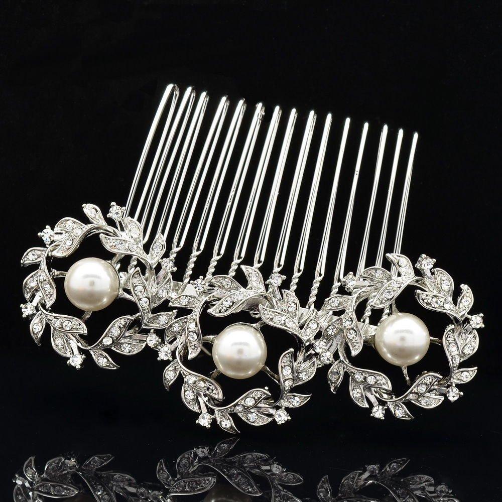 Pretty 3 Round Flowers Faux Pearls Hair Comb Rhinestone Crystals Wedding 41452R