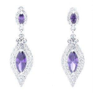 Flower Double Tear Drop Earring Clear Rhinestone Crystal Purple Acrylic 2046