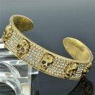 Gold Tone 5 Skull Bracelet Bangle Cuff Clear Swarovski Crystal for Hallowmas