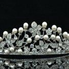 Wedding Bride Faux Pearl Flower Crown Tiara Clear Rhinestone Crystal 261RJK