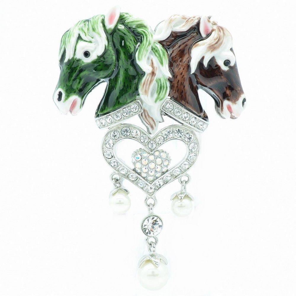 Enamel Green Heart Horse Brooch Broach Pin W/ Swarovski Crystals SBA4519