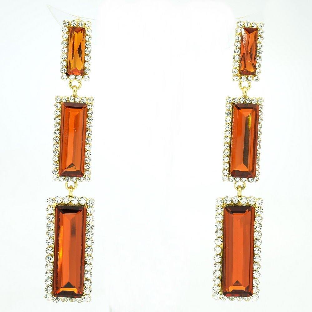 New Design Brown Oblong Dangle Earrings Rhinestone Crystals Art Deco 141232