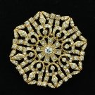 Europe Imperial Style Clear Rhinestone Crystal Flower Octagon Brooch Pins XBY140