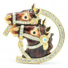High Quality Cute Enamel Brown 2 Horse Brooch Broach Pin w/ Swarovski Crystals
