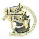 High Quality Cute Enamel Gray 2 Horse Brooch Broach Pin w/ Swarovski Crystals