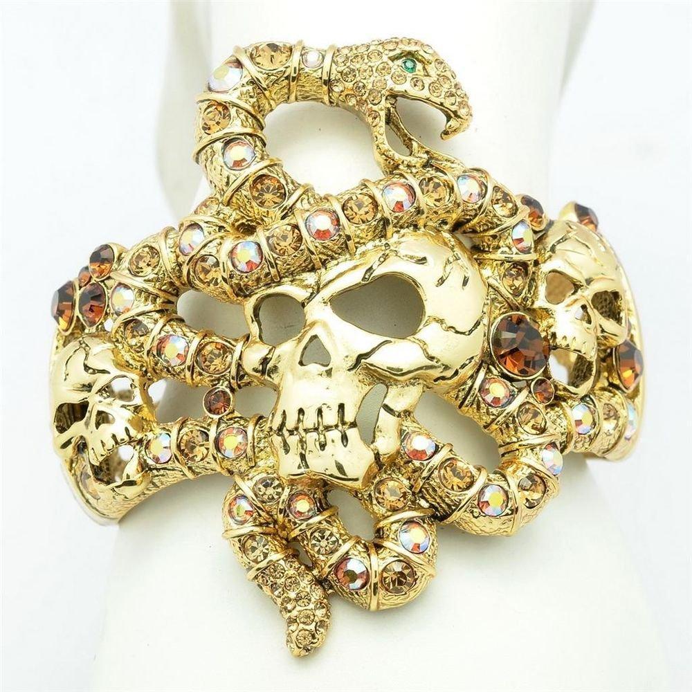 H-Quality Brown Swarovski Crystal Vintage Gold Tone Snake Skull Bracelet Bangle