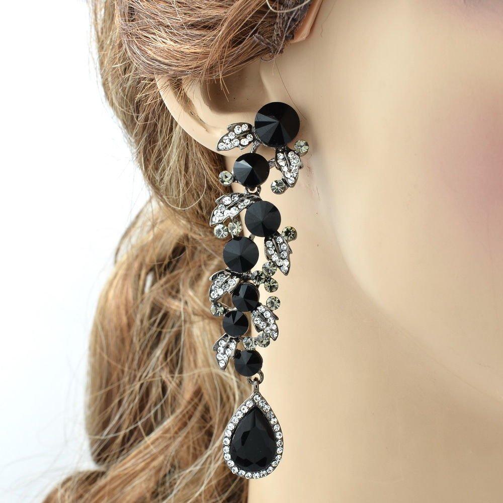 Vogue Black Leaf Drop Pierced Earring Women Prom Party Rhinestone Crystal 131831