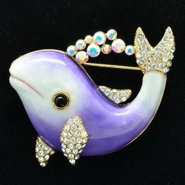 Luxury Swarovski Crystal Purple Enamel Dolphin Brooch Broach Pin Jewelry SBA4520