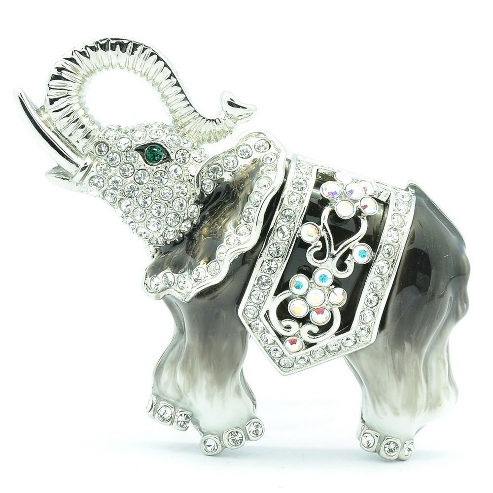 Animal Enamel Gray Elephant Brooch Broach Pin w/ Swarovski Crystals SBA4509