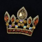 "Pendant Crown Brooch Broach Pin W/ Brown Rhinestone Crystals 2.3"" 5050"