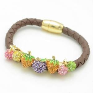 Brown Leather Cherry Multi Strawberry Bracelet Bangle W/ Mix Swarovski Crystals