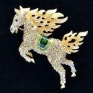 Hi-Q Animal Brown Horse Pegasus Brooch Broach Pins Swarovski Crystals SBA4512
