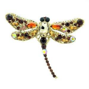 "Trendy Animal Brown Dragonfly Brooch Pin 3.7"" w/ Rhinestone Crystals"