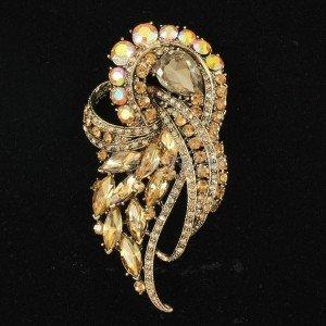 "Women Brown Flower Brooch Broach Pins Jewelry 3.5"" w/ Rhinestone Crystals 4243"