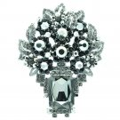 Retro Attractive Black Leaf Flower Brooch Pin Pendant Rhinestone Crystal 6411