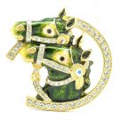 High Quality Cute Enamel Green 2 Horse Brooch Broach Pin w/ Swarovski Crystals