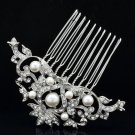 Faux Pearl Flower Hair Comb Clear Rhinestone Crystals For Wedding Bridal 1449R1